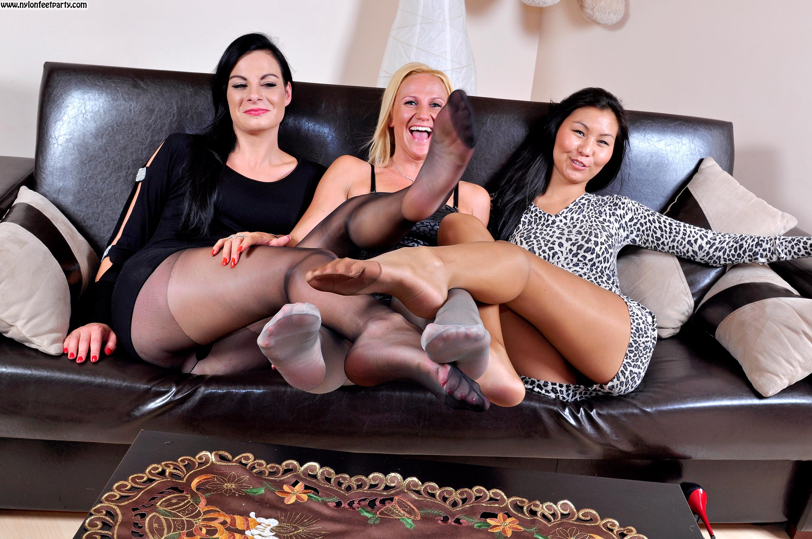 Tickling nylon feet party