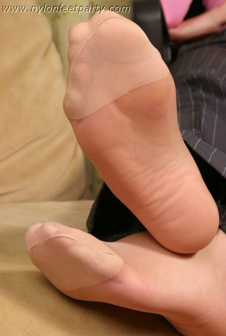 tickle nylon feet